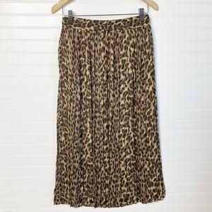 BANANA REPUBLIC Cheetah print pleated maxi skirt